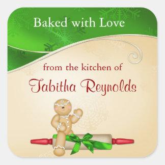 Weihnachtsgeschenk-Aufkleber-Lebkuchen-Mann Quadratischer Aufkleber