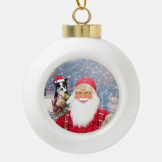 Weihnachtsgeschenk-Border-Collie-Hund Keramik Kugel-Ornament