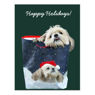 Weihnachtsgeschenk Shih Tzu Postkarte