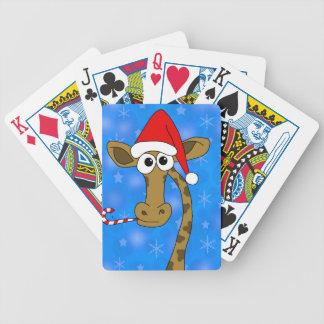 Weihnachtsgiraffe - Blau Pokerkarten