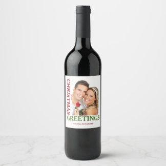 Weihnachtsgruß-Grün-rote Feiertags-Wein-Aufkleber Weinetikett