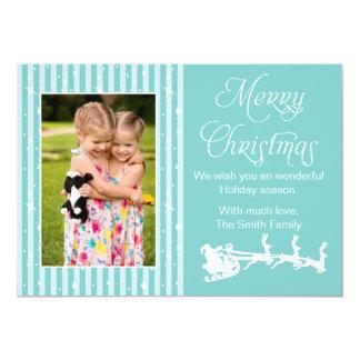 Weihnachtsgruß-Karten-Familien-Foto aquamarin 12,7 X 17,8 Cm Einladungskarte