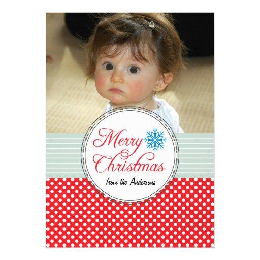 Weihnachtsgruß-Polka-Punkt-rote Foto-Karte Einladungen