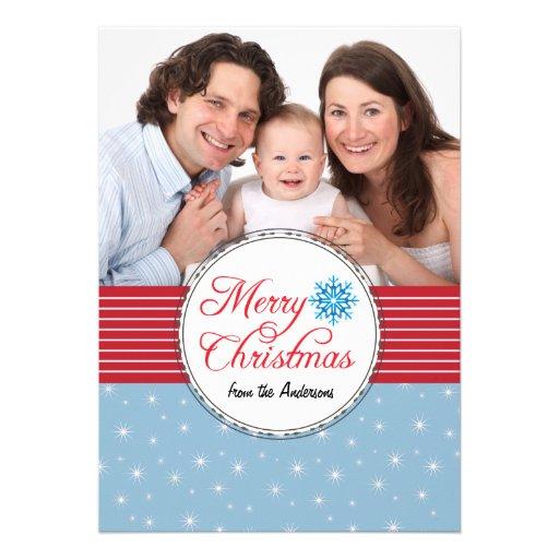 Weihnachtsgruß-Schneeflocke-blaues Rot-Foto-Karte Ankündigungskarte