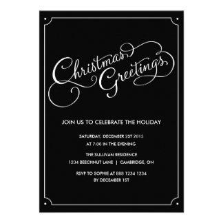 Weihnachtsgruß-Skript-Feiertags-Party laden ein
