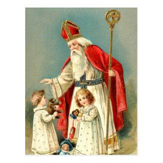 Weihnachtsgrüße von Sankt Nikolaus Postkarte