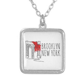 Weihnachtshalskette Brooklyn-Brücken-New York NYC Halskette Mit Quadratischem Anhänger