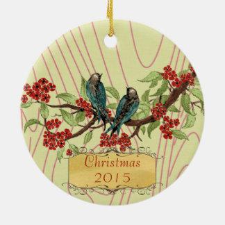 Weihnachtshochzeits-Foto-Vintage Vogel-rotes Rundes Keramik Ornament