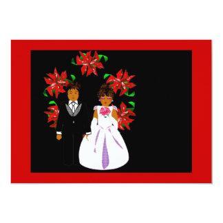 Weihnachtshochzeits-Paar-Herz-Kranz im roten Grün 12,7 X 17,8 Cm Einladungskarte