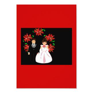 Weihnachtshochzeits-Paar-Kranz im roten Blau 12,7 X 17,8 Cm Einladungskarte