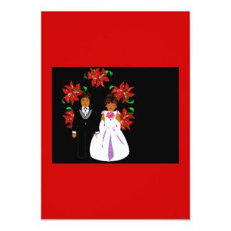 Weihnachtshochzeits-Paar-Kranz im roten Weiß 12,7 X 17,8 Cm Einladungskarte
