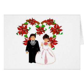 Weihnachtshochzeits-Paare I mit Herz-Kranz