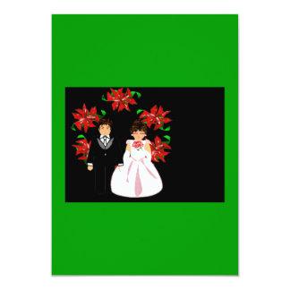Weihnachtshochzeits-Paare mit dem Wreath-Grün lila 12,7 X 17,8 Cm Einladungskarte