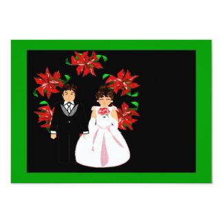 Weihnachtshochzeits-Paare mit Kranz-Grün-Rosa 12,7 X 17,8 Cm Einladungskarte