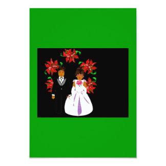 Weihnachtshochzeits-Paare mit Kranz-Grün-Schwarzem 12,7 X 17,8 Cm Einladungskarte