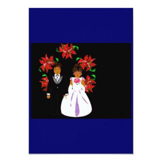 Weihnachtshochzeits-Paare mit Kranz im Blau 12,7 X 17,8 Cm Einladungskarte