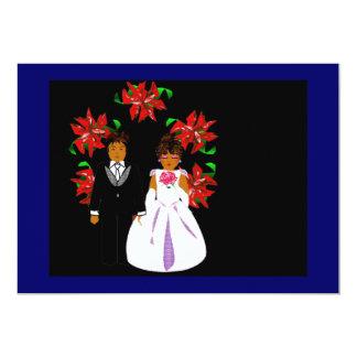 Weihnachtshochzeits-Paare mit Kranz im blauen Gold 12,7 X 17,8 Cm Einladungskarte