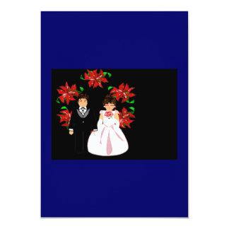 Weihnachtshochzeits-Paare mit Kranz im blauen Rot 12,7 X 17,8 Cm Einladungskarte