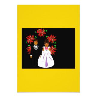Weihnachtshochzeits-Paare mit Kranz im Gold 12,7 X 17,8 Cm Einladungskarte