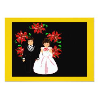Weihnachtshochzeits-Paare mit Kranz im Goldrot 12,7 X 17,8 Cm Einladungskarte