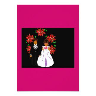 Weihnachtshochzeits-Paare mit Kranz im rosa Grün 12,7 X 17,8 Cm Einladungskarte
