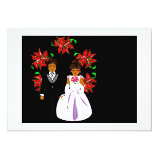 Weihnachtshochzeits-Paare mit Kranz im Weiß 12,7 X 17,8 Cm Einladungskarte