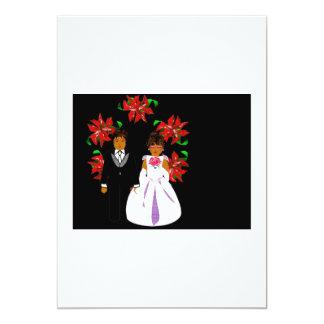 Weihnachtshochzeits-Paare mit Kranz im weißen Rot 12,7 X 17,8 Cm Einladungskarte