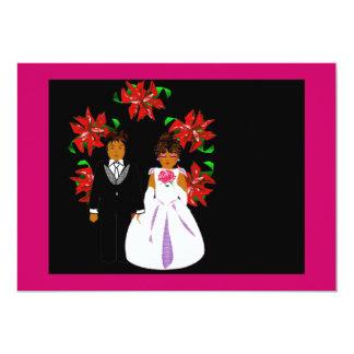 Weihnachtshochzeits-Paare mit Kranz-Rosa-Blau 12,7 X 17,8 Cm Einladungskarte