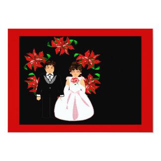 Weihnachtshochzeits-PaareWreath in rotem Lila 12,7 X 17,8 Cm Einladungskarte