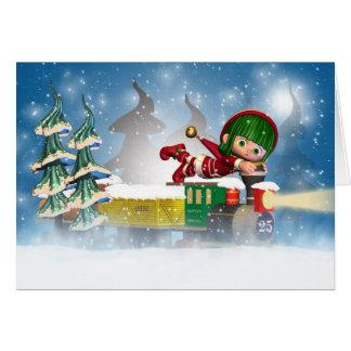 Weihnachtskarte mit niedlichem kleinem Elf auf Zug Karte