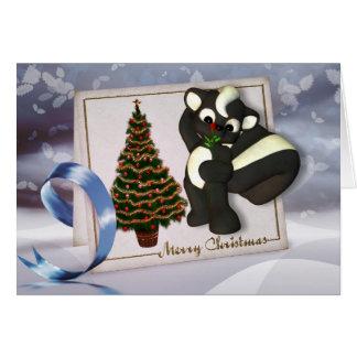 Weihnachtskarte mit niedliches Stinktier frohen Karte