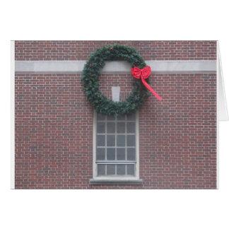 Weihnachtskarte mit Riff auf Fenster Karte