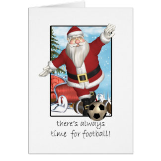 Weihnachtskarte, Sankt, die Fußball spielt Karte