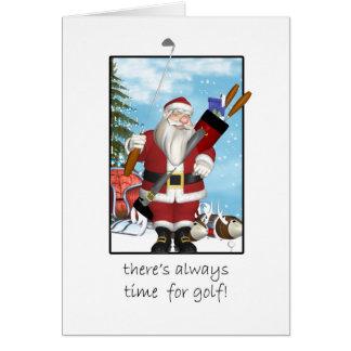 Weihnachtskarte, Sankt, die Golf spielt Grußkarte