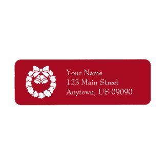 WeihnachtsKranz-Adressen-Etiketten (Burgunder) Rücksendeetikett