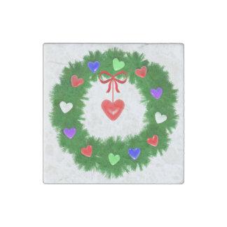 WeihnachtsKranz der Herzen Steinmagnet