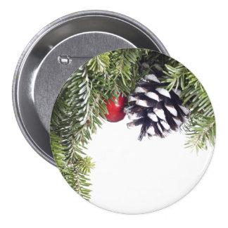 WeihnachtsKranz-Kiefern-Kegel-rote Runder Button 7,6 Cm