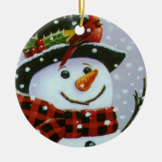 Weihnachtskreis-Verzierung/Schneemann Rundes Keramik Ornament