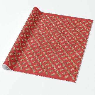 Weihnachtslebkuchen-Rot-Packpapier Geschenkpapier
