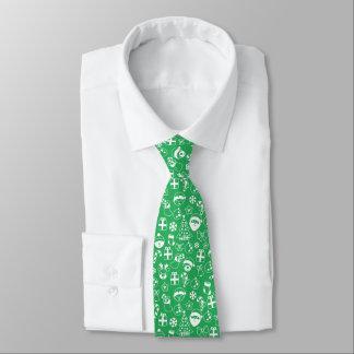 Weihnachtslieblings-grüner Sankt-Elf-Schneemann Bedruckte Krawatten