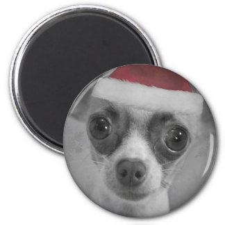 Weihnachtslustiger Chihuahua-Welpe mit Runder Magnet 5,1 Cm