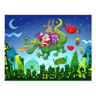 Weihnachtsmann änderte sein Ren für einen Drachen Postkarte