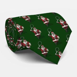 Weihnachtsmann, der Tennis spielt Bedruckte Krawatte