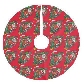 Weihnachtsmann, der zur Stadt auf seiner Polyester Weihnachtsbaumdecke