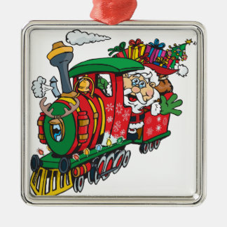 Weihnachtsmann, der zur Stadt auf seiner Silbernes Ornament