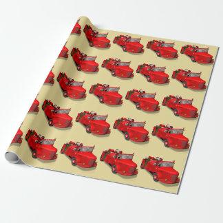Weihnachtsmann-Feuerwehrmann-Vintager Feuer-LKW Geschenkpapier