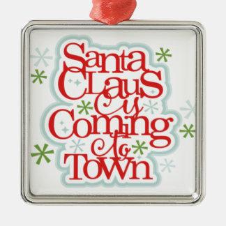 Weihnachtsmann kommt zum Stadtweihnachten Quadratisches Silberfarbenes Ornament