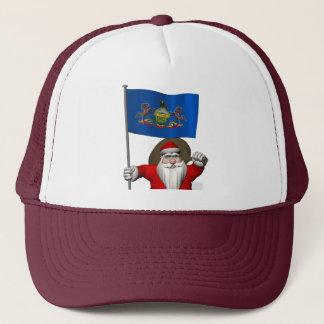 Weihnachtsmann mit Fahne von Pennsylvania Truckerkappe