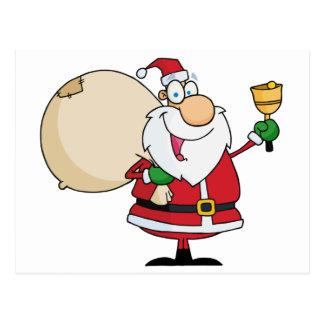 Weihnachtsmann mit Jingle Bell Postkarte