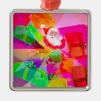 Weihnachtsmann mit Mehrfarbengeschenken Quadratisches Silberfarbenes Ornament